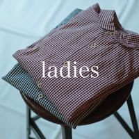 セルヴィッチブロードギンガムチェック ラウンドカラーブラウス / ladies【 56-0909X 】