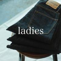 甘織りデニム 5Pテーパードジーンズ / ladies _ one wash【50-0582C】