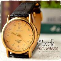タイ文字腕時計【sak06】タイ文字ロゴがおしゃれアナログ時計レザーバンド