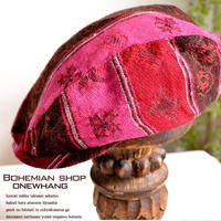 マフラー生地で温かハンチグハット【jac45】ハンチング帽子カラフルなニットネパール製品手作り