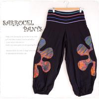 花柄刺繍サルエルパンツ【a751】厚手のアジアンアラジンパンツ ブラック