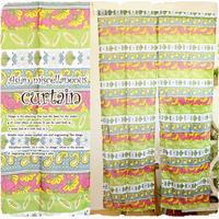 【tk401】送料無料  エスニック柄 のれん♪グリーンふりふりビーズフリンジ 付♪カラフルコットン 素材でアジアンなデザイン!飾るだけでアジアン風インテリア!透け感が可愛いと大好評!