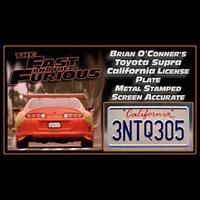ブライアン・オコナー 80スープラ ナンバープレート (3NTQ305) カリフォルニア州