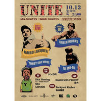 10.13.Sat. UNITE with Jambo Lacquer / DJ MO-RI / GREEN WORKS / YOHEY the west