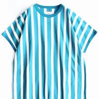 SHAREEF STRIPE CREW-NECK BIG-T(Turquoise×White)