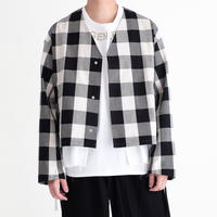 DISCOVERED Buffalo Check Twill Cotton Shirt Blouson(WHITE)