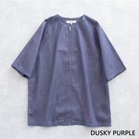 RICEMAN Zip Up Half Sleeve Shirt(DUSKY PURPLE)
