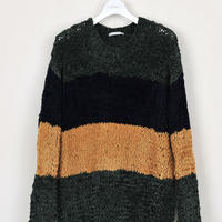 DISCOVERED BORDER KNIT(GREEN×NAVY×YELLOW)