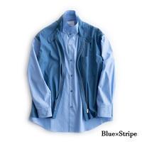 nuterm Layered Shirts Jacket(Blue×Stripe)