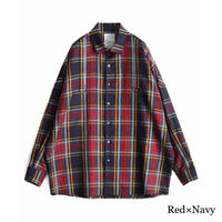 SHAREEF TARTAN CHECK L/S SHIRTS(Red×Navy)
