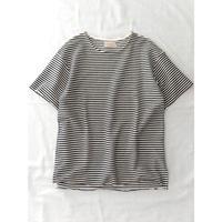 VALLIS by FACTOTUM 細ボーダーBIG-Tシャツ(BLACK)