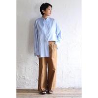 【WOMEN'S】THE FACTORY サンドウォッシュビエラリボン襟シャツ(Sax)