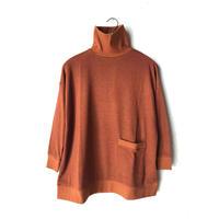 【WOMEN'S】THE FACTORY ウールメランジハイネックポケット付きカットソー(Brown/Mustard/Pink/Gray)