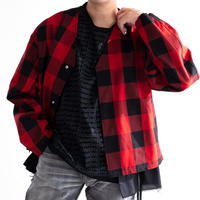 DISCOVERED Buffalo Check Twill Cotton Shirt Blouson(RED)