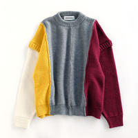 DISCOVERED PATCH WORK KNIT(GRAY×RED×YELLOW×WHITE)
