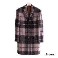 FEEL EASY ORIGINAL MADRAS CHECK MOHAIR CHESTER COAT(Brown)