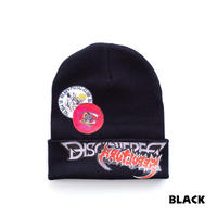 "DISCOVERED ""VERY METAL"" STICKER KNITCAP(BLACK)"