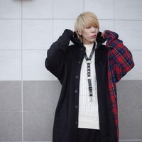 【CLASSIC ROV】BILINGUAL HOOD LONG SHIRT  [BLUE/RED]