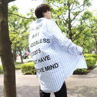 【AFYF】LONG BIG SHIRT [PRINT-WHITE/BLUE]