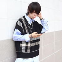 【AFYF】 JERZY COTTON KNIT BIG VEST [BLACK/WHITEチェック]
