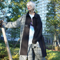【AFYF】BASIC OVERSIZED CHECK COMBI  SOUTIEN COAT [GRAY/BLACK]