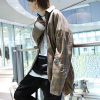 【AFYF】POLY LONG ZIP SHIRT  [CAMEL CHECK]