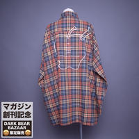 ダークベアーバザール 限定生産アイテム【rovtski】 🍎🍏DARK APPLE CHECK SHIRT【APPLE-ORANGE/GRAY】 / 2S20090403