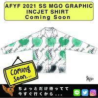 ネオ文芸派🎃短編小説     『DARK APPLE』【AFYF】 2021 SS MGO GRAPHIC INCJET 開襟シャツ-WHITE