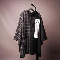 【AFYF】BILINGUAL PONCHO [BLK×ORANGE CHECK]