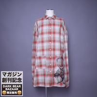 ダークベアーバザール 限定生産アイテム【rovtski】 SPECIAL CHECK BIG LONG SHIRT 【DARK BEAR-BEIGE/ORANGE】 / 7S20090433