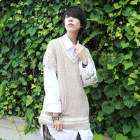 【AFYF】 CABLE COTTON KNIT BIG VEST [BEIGE/WHITE] / 3K19111601