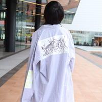 【AFYF】LONG BIG SHIRT [GERNICA-GRAY/WHITE] / 3S19110905
