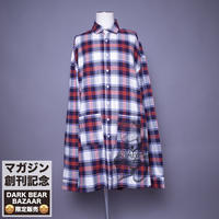 ダークベアーバザール 限定生産アイテム【rovtski】SPECIAL CHECK BIG LONG SHIRT 【DARK BEAR-NAVY/WHITE】 / 7S20090433
