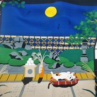 三毛猫みけの夢日記 小ふろしき 「みけとお月様」50センチ
