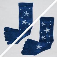 星柄 オーガニックコットン藍染め靴下 L24〜27cm