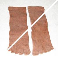 紅露(クール)染め靴下 オーガニックコットン 5本指23〜24cm(Mサイズ)