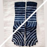 しましま 藍染めhemp cotton5本指靴下 M22〜24cm