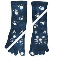 ねこ柄 オーガニックコットン藍染め靴下 M23〜24cm
