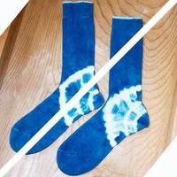 かかと藍染めシルクコットンソックスメンズ24-27cm
