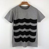 黒波図Tシャツ_鼠/スリムシルエット