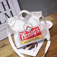 【即日発送】Wendys ウェンディーズ ロゴの2wayトートバッグ キャンバス トートバッグ 帆布/トート クロスバッグ 原宿 spins 韓国ファッション 街歩き 学校 インスタ映え