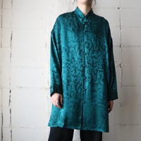 Shadow Leaf Pattern Satin Shirt GN