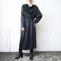 Drape Collar Shiny Dress BK