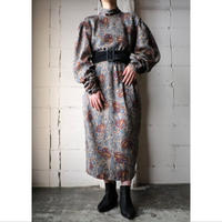 Stand Collar Paisley Dress GR
