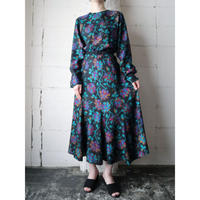Botanical Pattern Dress BKGR
