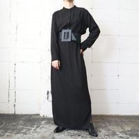 Band Collar Long Shirt Dress BK