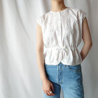 70's Drawstring Tuck Embroidery Blouse WH