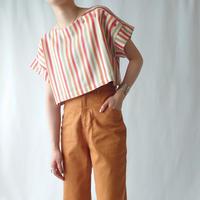 70's EURO Stripe Short Blouse OR