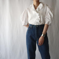 Frilled Collar Cutwork Tyrolean Blouse WH