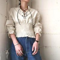 Waist Gather Lace up Blouse WH